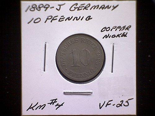 1889J GERMANY TEN PFENNIG