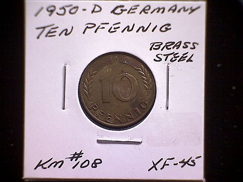 1950D GERMANY TEN PFENNIG