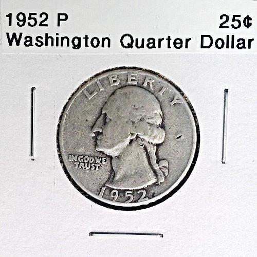 1952 P Washington Quarter Dollar