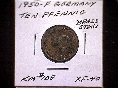 1950 F GERMANY TEN PFENNIG