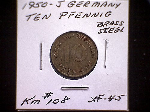 1950 J GERMANY TEN PFENNIG