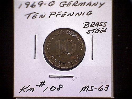 1969 G GERMANY TEN PFENNIG