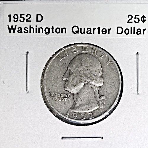 1952 D Washington Quarter Dollar