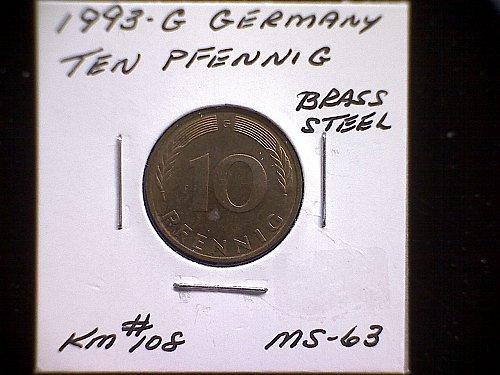 1993 G GERMANY TEN PFENNIG