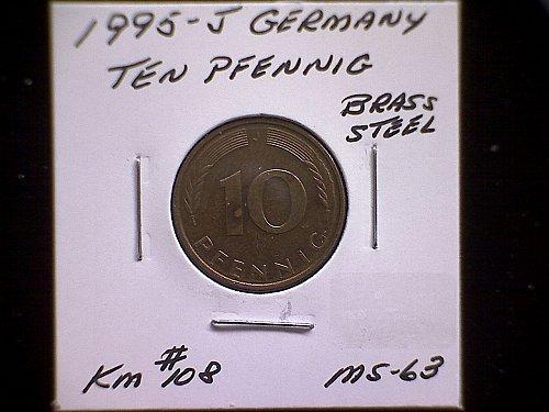 1995 J GERMANY TEN PFENNIG