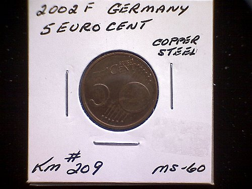 2002 F GERMANY FIVE EURO CENT