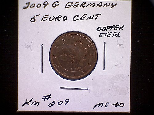 2009 G GERMANY FIVE EURO CENT