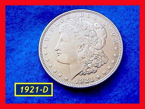 """1921-D Morgan Silver Dollar •••  """"AU-50""""  (#5302)"""