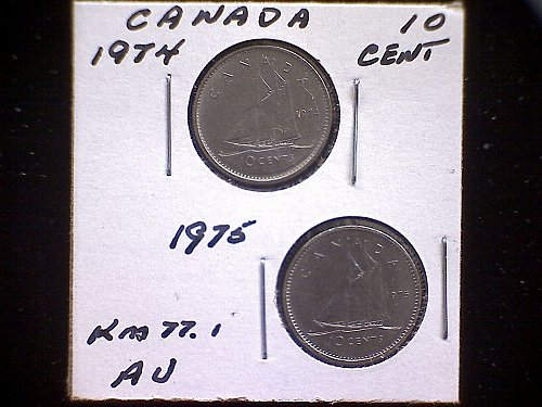 1974-75 CANADA TEN CENTS QUEEN ELIZABETH 11  (2 PACK)