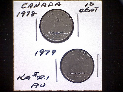 1978 - 79 CANADA TEN CENT QUEEN ELIZABETH 11  (2 PACK)