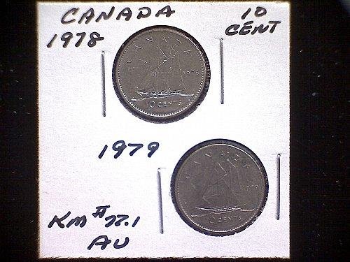 1978 - 79 CANADA TEN CENT QUEEN ELIZABETH 11  (2 PACK)