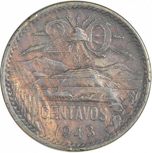 Mexico, 20 Centavos, 1943, AU 50 BRN, (Item 380)