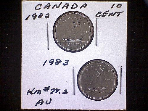 1982 - 83 CANADA TEN CENT QUEEN ELIZABETH 11  (2 PACK)