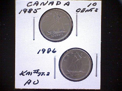 1985 - 86 CANADA TEN CENTS QUEEN ELIZABETH 11 (2 PACK)