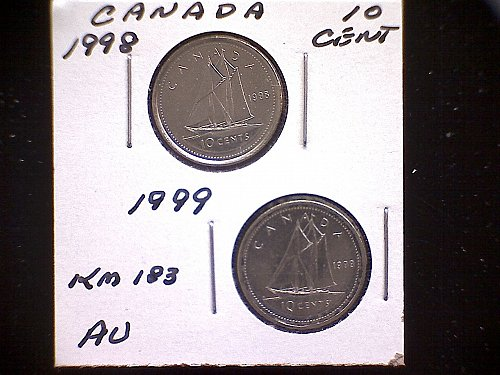1998 - 99 CANADA TEN CENT QUEEN ELIZABETH 11 (2 PACK)