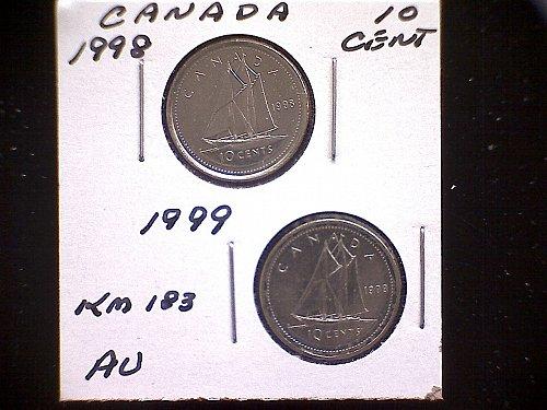 1998 - 99 CANADA TEN CENT QUEEN ELIZABETH 11 (2 PACK)