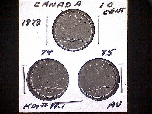 1973-74-75 CANADA TEN CENT QUEEN ELIZABETH 11 (3PACK)