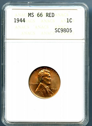1944 ANACS MS66 Red Lincoln Wheat Cent