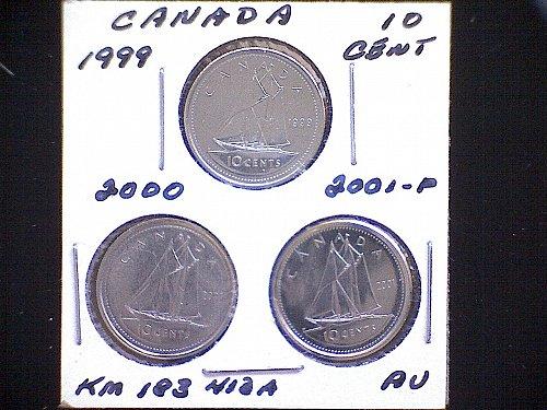 1999 - 00 - 01 CANADA TEN CENT QUEEN ELIZABETH 11 (3 PACK)