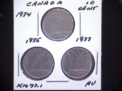 1974 - 75 - 77 - CANADA TEN CENT QUEEN ELIZABETH 11  (3 PACK)