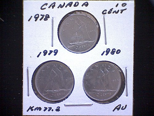1978 - 79 - 80 - CANADA TEN CENT QUEEN ELIZABETH 11 ( 3 PACK )