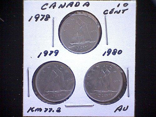 1978 - 79 - 80 - CANADA TEN CENT QUEEN ELIZABETH 11 ( 3 PACK )