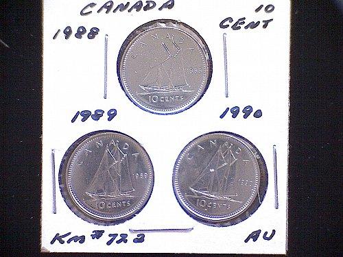 1988 - 89 - 90 - CANADA TEN CENT QUEEN ELIZABETH 11 (3 PACK)