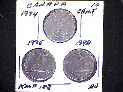 1974 - 95 - 98 -CANADA TEN CENT QUEEN ELIZABETH 11 ( 3 PACK)