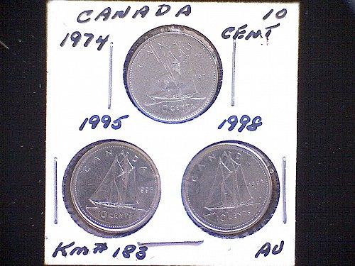 1974 - 95 - 98 -CANADA TEN CENT QUEEN ELIZABETH 11 ( 3 PACK)