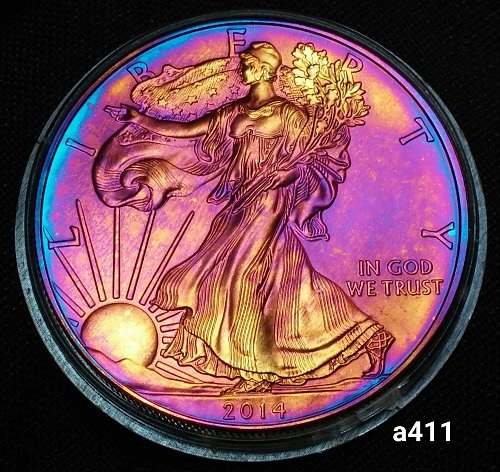 2014 Rainbow Toned Silver American Eagle 1 troy ounce silver Monster toned #a411
