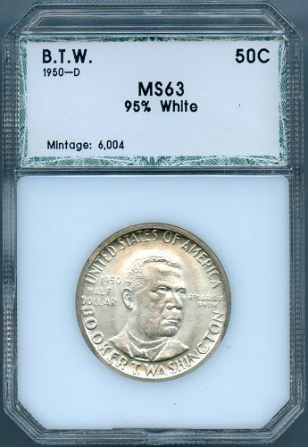 1950-D Booker T. Washington PCI MS63 Commemorative Half Dollar