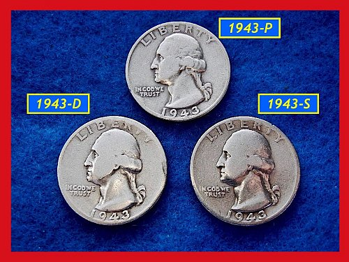 1943-PDS  3–COIN SET •••••  Washington Quarters     (#2273)