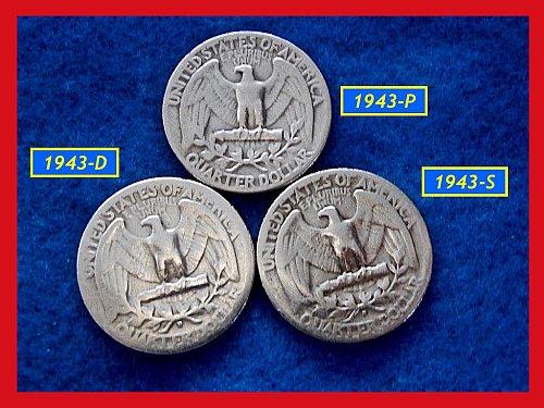 1943-PDS  3–COIN SET •••••  Washington Quarters     (#2273)