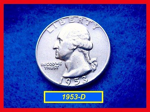 "1953-D   ""XF-45""  Washington Quarter • • •  (#2455)"
