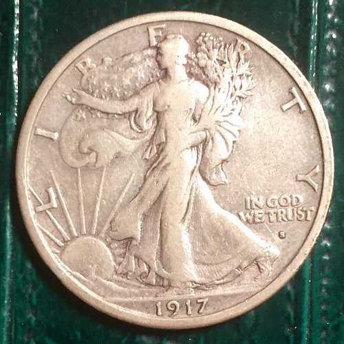 1917S OBV Walking Liberty Half