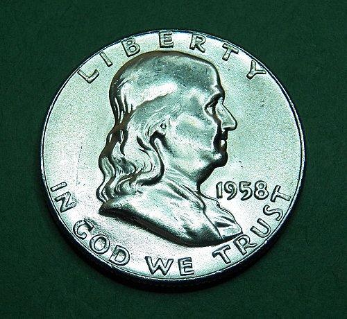 1958 P Franklin Half Dollar Brilliant Uncirculated Coin   f81