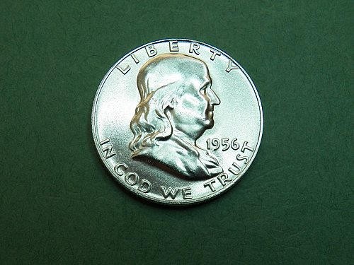 1956 P Franklin Half Dollar Gem Coin with Full Bands  h14