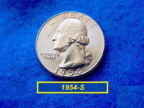 1954-S Brilliant UNCIRCULATED ••• Washington SILVER Quarter   (#2488)