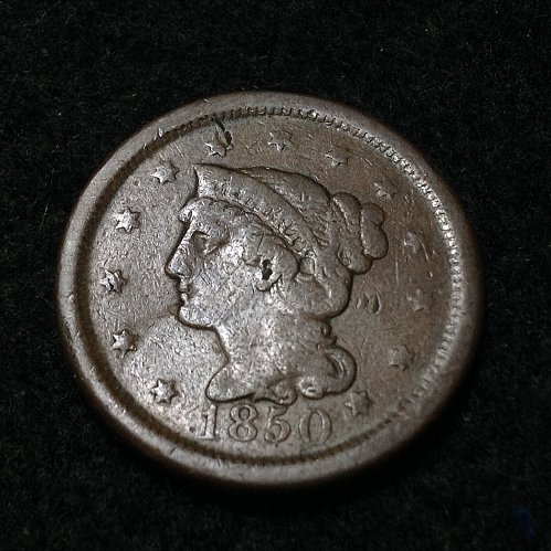 1850 P braided hair liberty head large cent