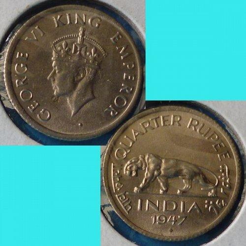 British India 1/4 Quarter Rupee 1947 B  km 548