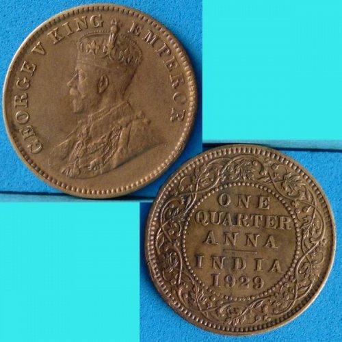 British India 1/4 Quarter Anna 1929 c  km 512