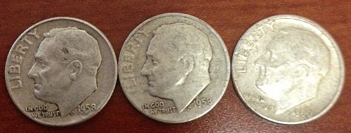 1958 (2) and 1960 Roosevelt dimes