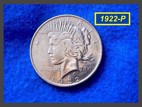 "1922-P PEACE Dollar  •••  ""AU-53"" Circulated  (#5304)"