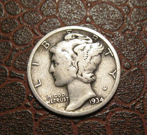 1934 MERCURY DIME, WINGED LIBERTY