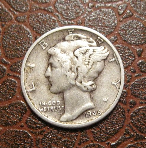 1945 D MERCURY DIME, WINGED LIBERTY