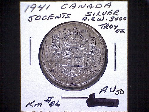 "1941 CANADA FIFTY CENT KING GEORGE V1 ""SILVER"""