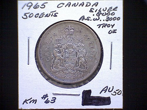 "1965 CANADA FIFTY CENT QUEEN ELIZABETH 11  ""SILVER"""