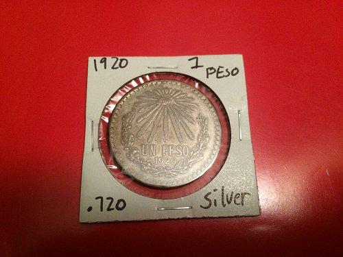 1920 1 peso .720 silver