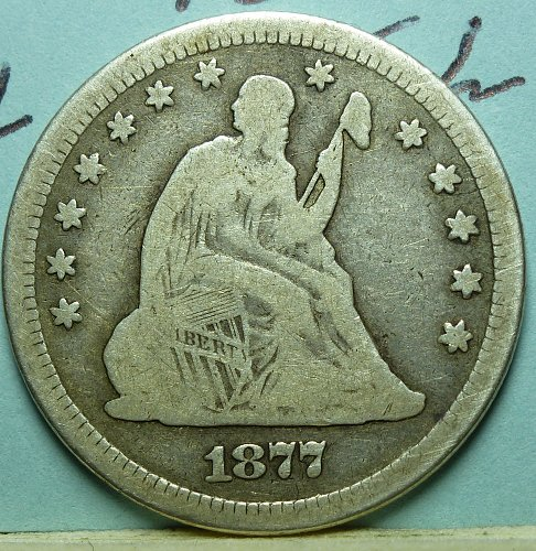 1877 P Seated Liberty Quarter
