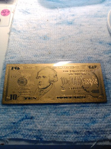 24K GOLD FOIL US 10 DOLLAR BILL